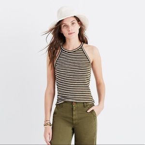 Madewell Olive Green Striped Tank Top